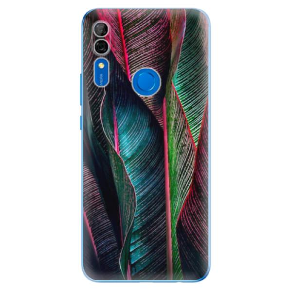 Odolné silikonové pouzdro iSaprio - Black Leaves - Huawei P Smart Z