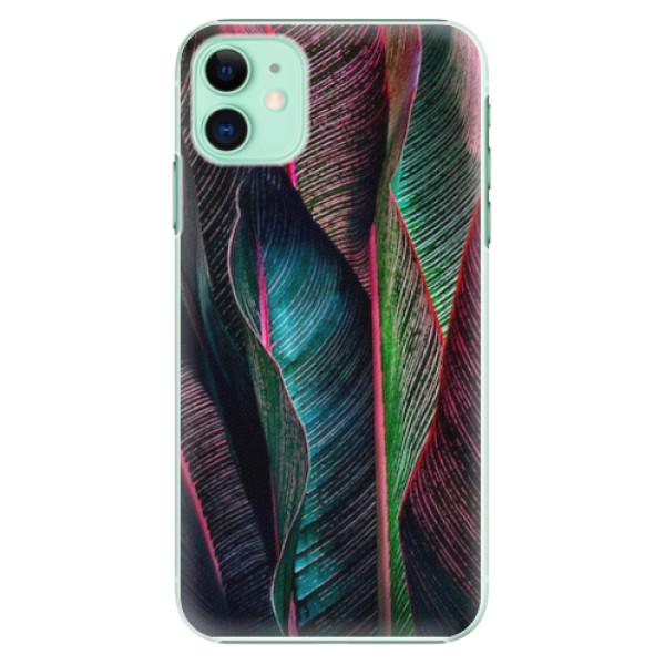 Plastové pouzdro iSaprio - Black Leaves - iPhone 11
