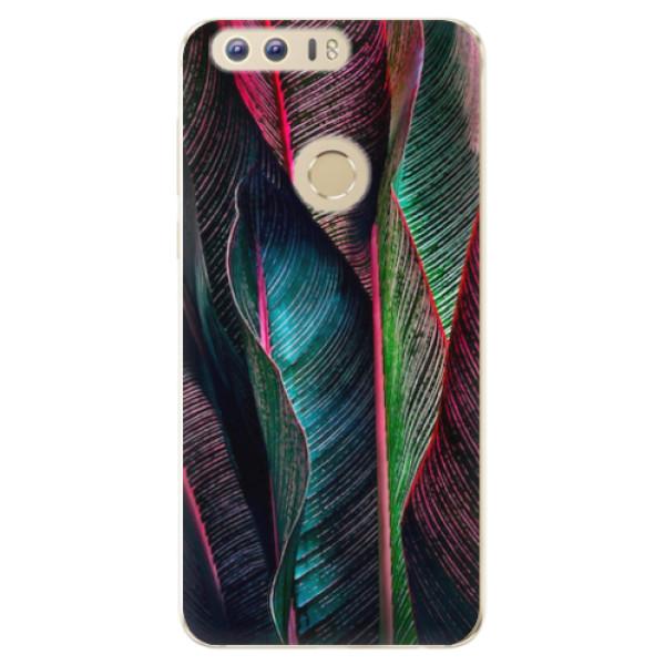 Odolné silikonové pouzdro iSaprio - Black Leaves - Huawei Honor 8