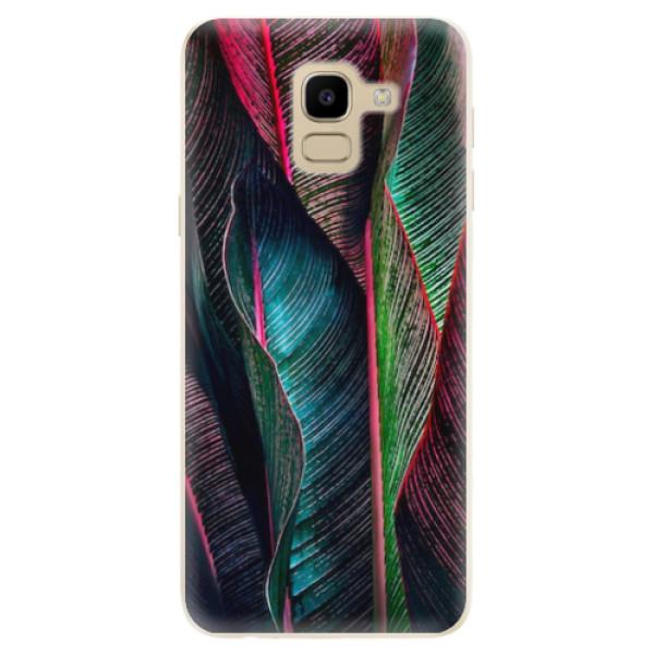 Odolné silikonové pouzdro iSaprio - Black Leaves - Samsung Galaxy J6