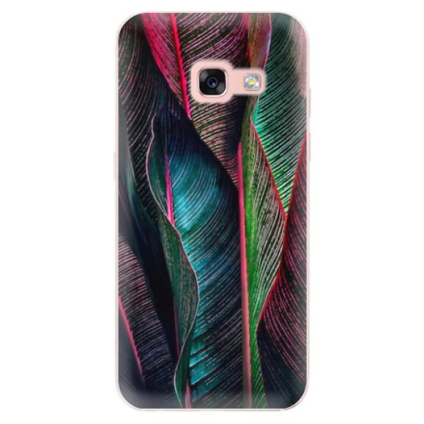 Odolné silikonové pouzdro iSaprio - Black Leaves - Samsung Galaxy A3 2017