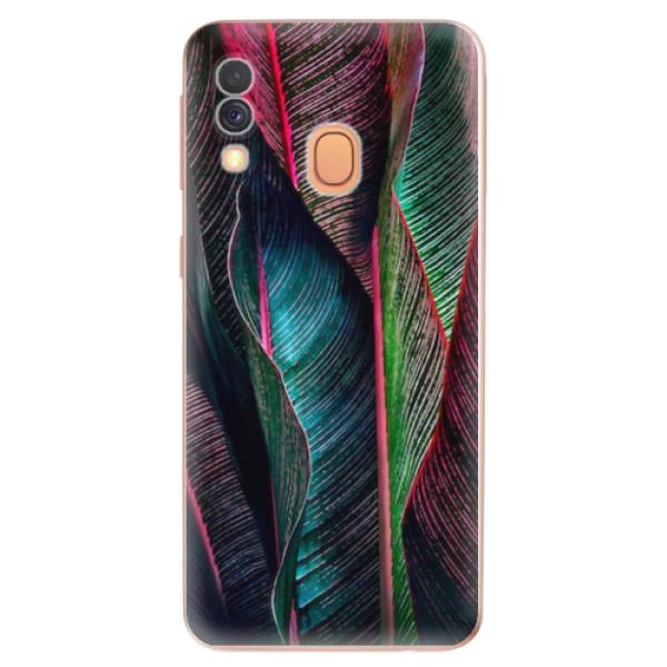 Odolné silikonové pouzdro iSaprio - Black Leaves - Samsung Galaxy A40