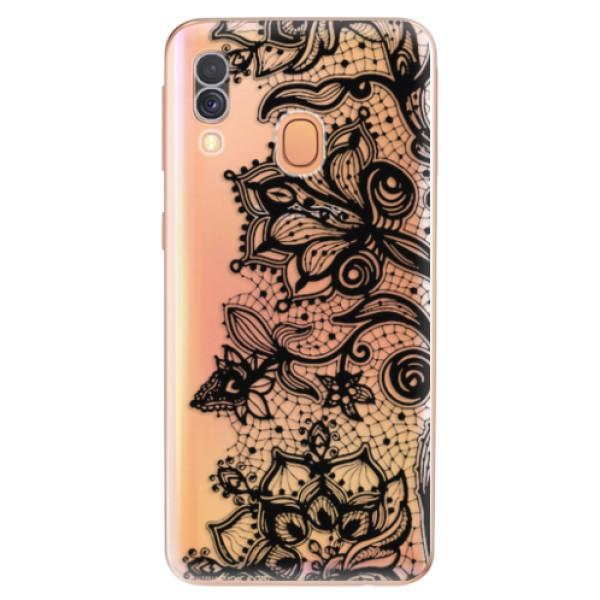 Odolné silikonové pouzdro iSaprio - Black Lace - Samsung Galaxy A40