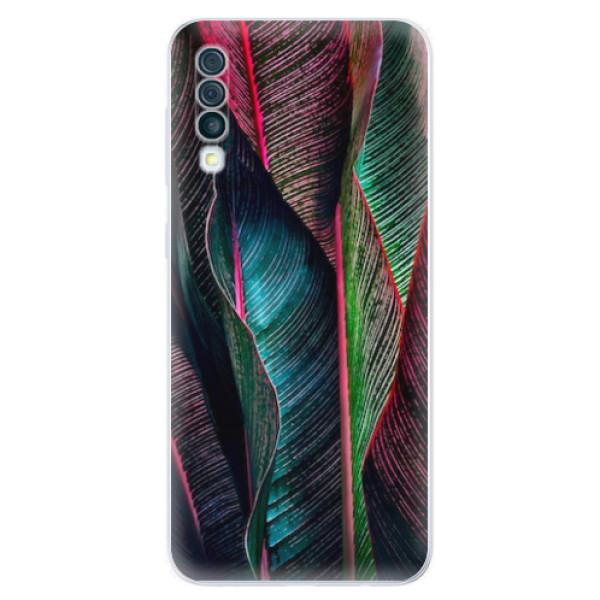 Odolné silikonové pouzdro iSaprio - Black Leaves - Samsung Galaxy A50