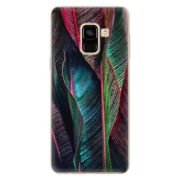 Odolné silikonové pouzdro iSaprio - Black Leaves - Samsung Galaxy A8 2018