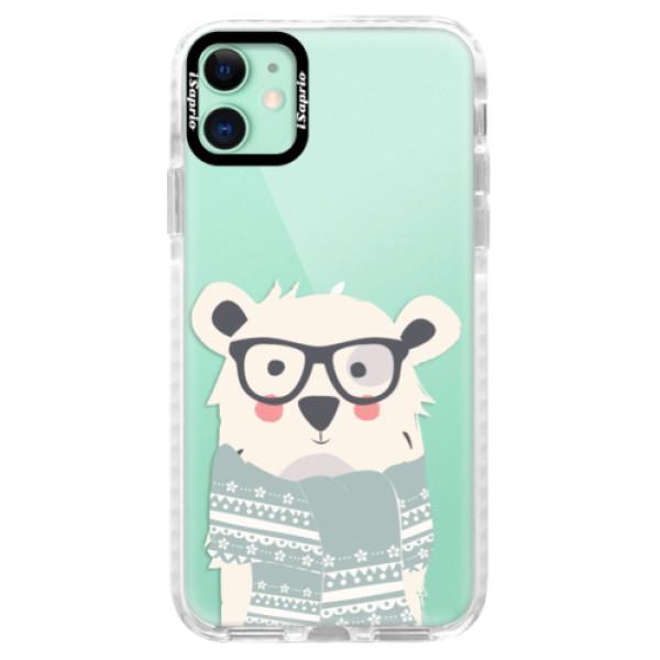 Silikonové pouzdro Bumper iSaprio - Bear with Scarf - iPhone 11