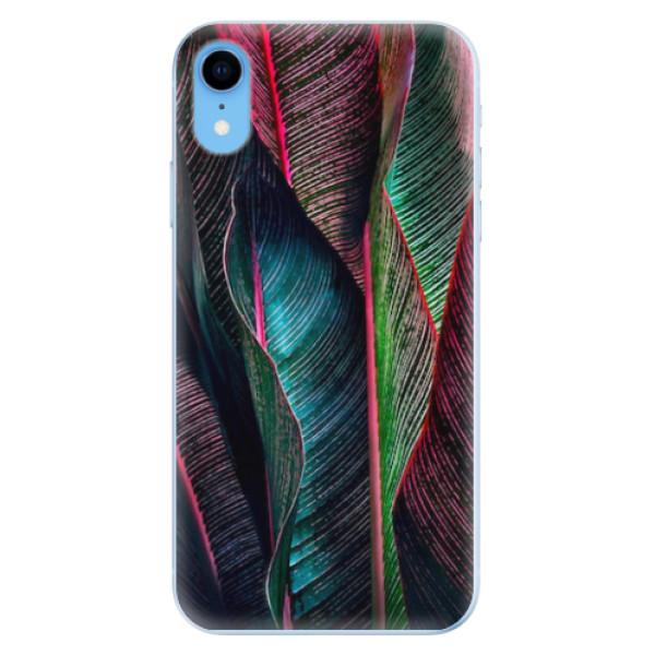 Odolné silikonové pouzdro iSaprio - Black Leaves - iPhone XR