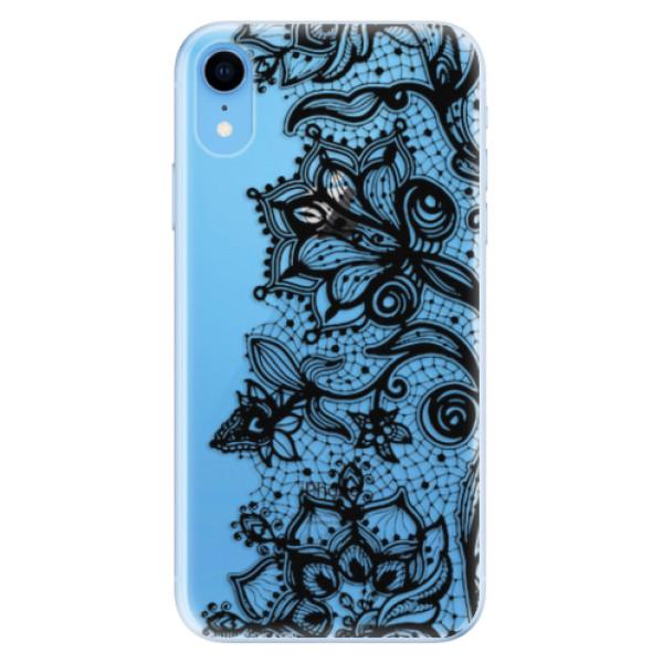 Odolné silikonové pouzdro iSaprio - Black Lace - iPhone XR