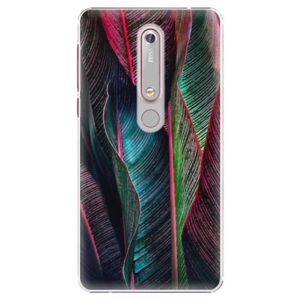 Plastové pouzdro iSaprio - Black Leaves - Nokia 6.1