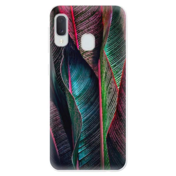 Odolné silikonové pouzdro iSaprio - Black Leaves - Samsung Galaxy A20e