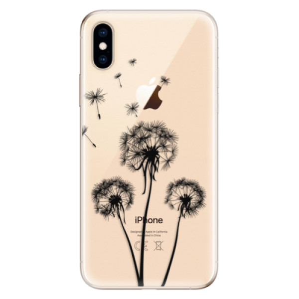 Odolné silikonové pouzdro iSaprio - Three Dandelions - black - iPhone XS