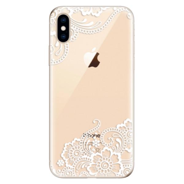 Odolné silikonové pouzdro iSaprio - White Lace 02 - iPhone XS