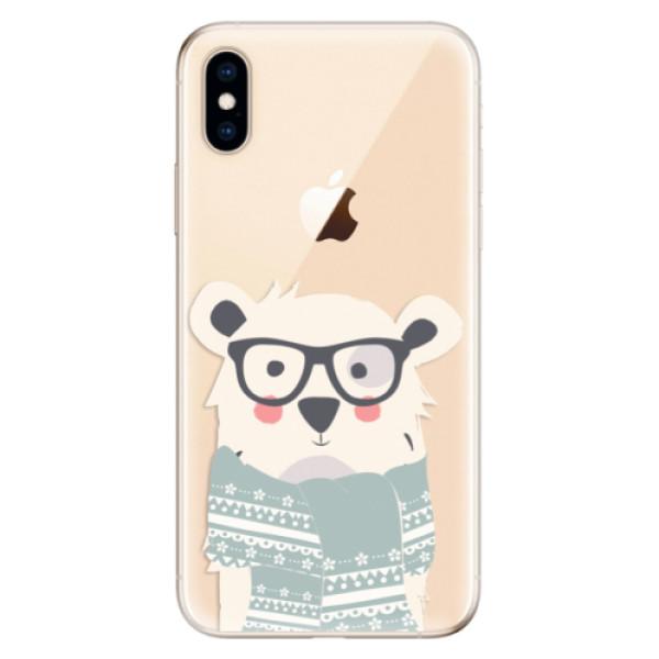 Odolné silikonové pouzdro iSaprio - Bear with Scarf - iPhone XS