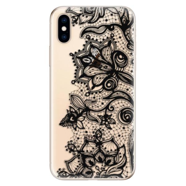 Odolné silikonové pouzdro iSaprio - Black Lace - iPhone XS