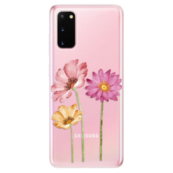 Odolné silikonové pouzdro iSaprio - Three Flowers - Samsung Galaxy S20