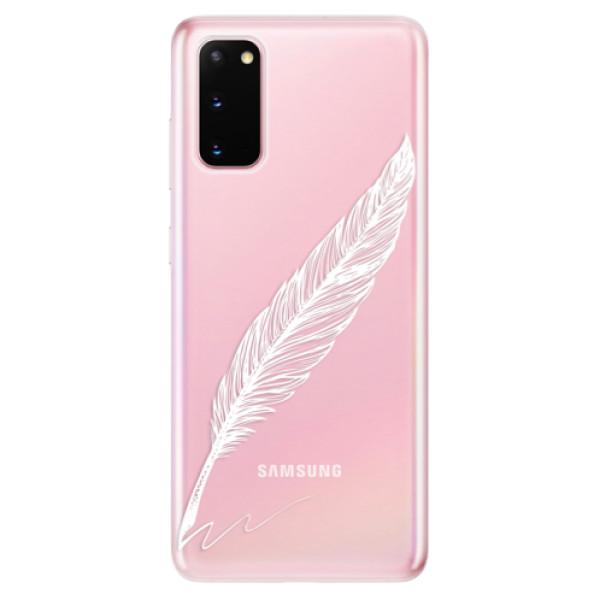 Odolné silikonové pouzdro iSaprio - Writing By Feather - white - Samsung Galaxy S20