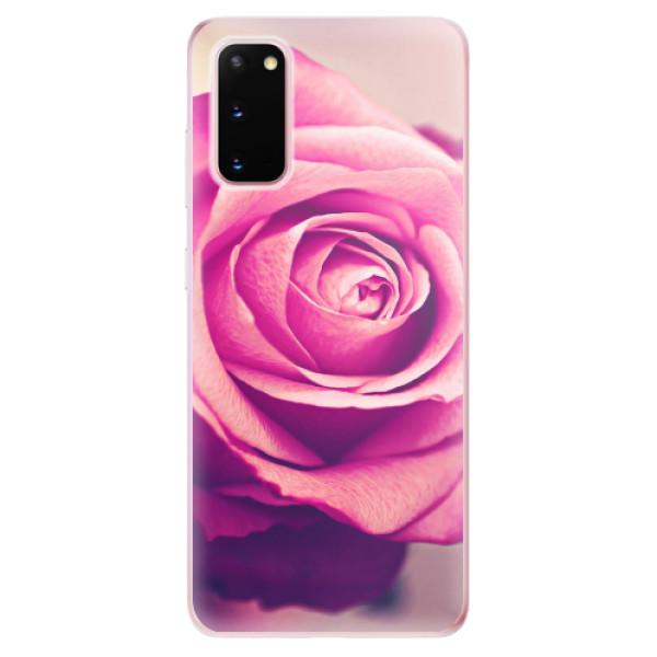 Odolné silikonové pouzdro iSaprio - Pink Rose - Samsung Galaxy S20