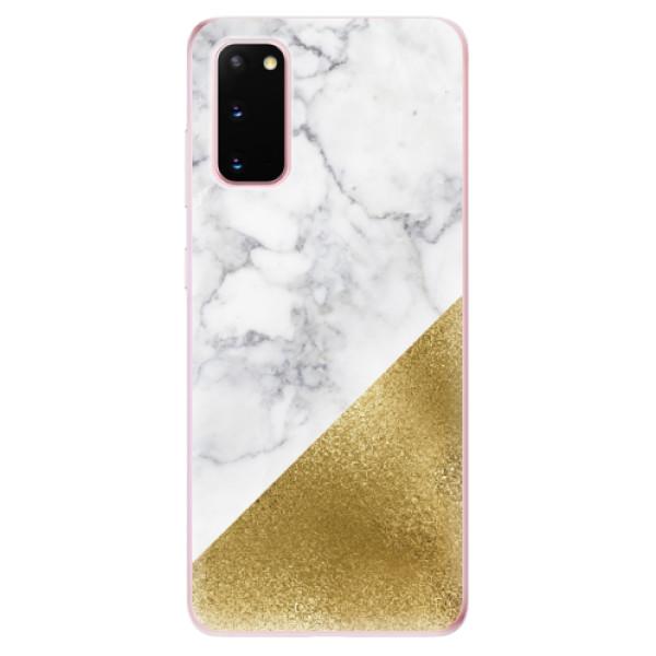 Odolné silikonové pouzdro iSaprio - Gold and WH Marble - Samsung Galaxy S20