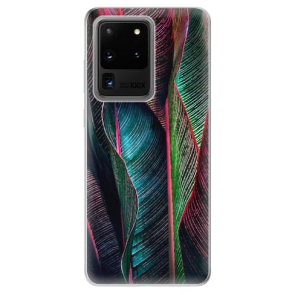 Odolné silikonové pouzdro iSaprio - Black Leaves - Samsung Galaxy S20 Ultra