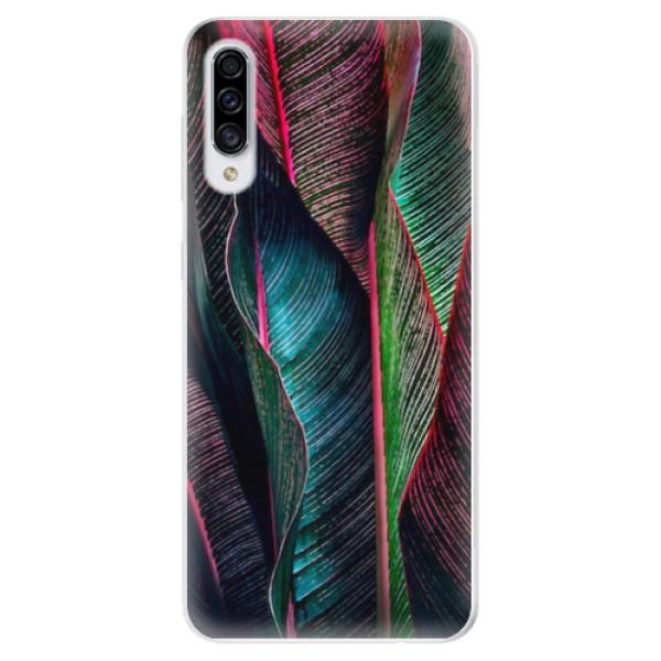 Odolné silikonové pouzdro iSaprio - Black Leaves - Samsung Galaxy A30s
