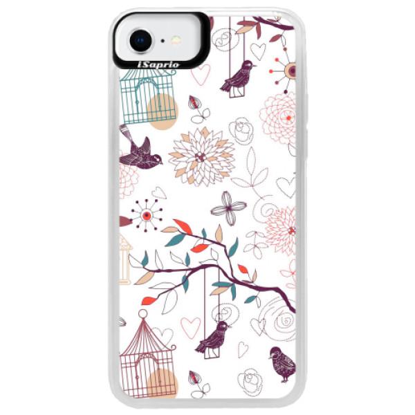 Neonové pouzdro Pink iSaprio - Birds - iPhone SE 2020