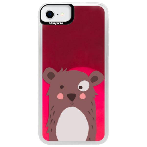 Neonové pouzdro Pink iSaprio - Brown Bear - iPhone SE 2020