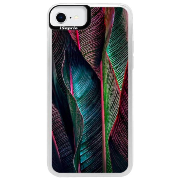 Neonové pouzdro Pink iSaprio - Black Leaves - iPhone SE 2020