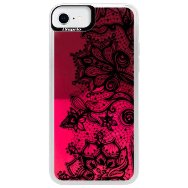 Neonové pouzdro Pink iSaprio - Black Lace - iPhone SE 2020