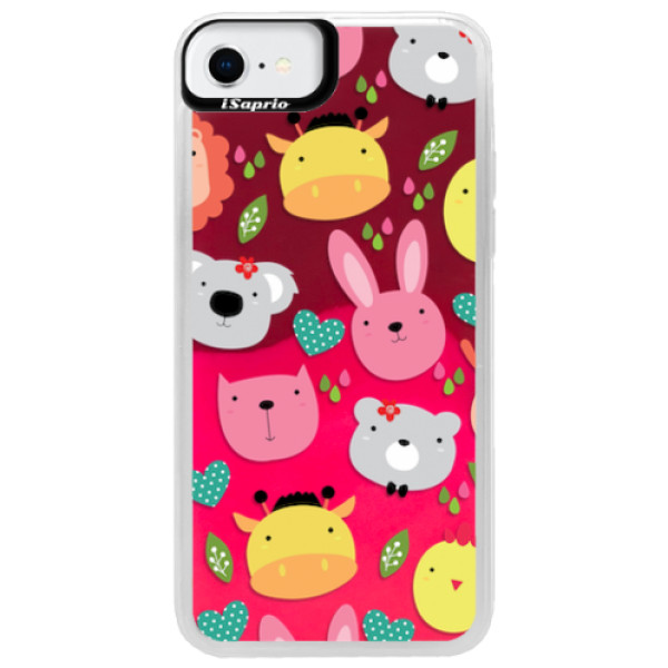 Neonové pouzdro Pink iSaprio - Animals 01 - iPhone SE 2020