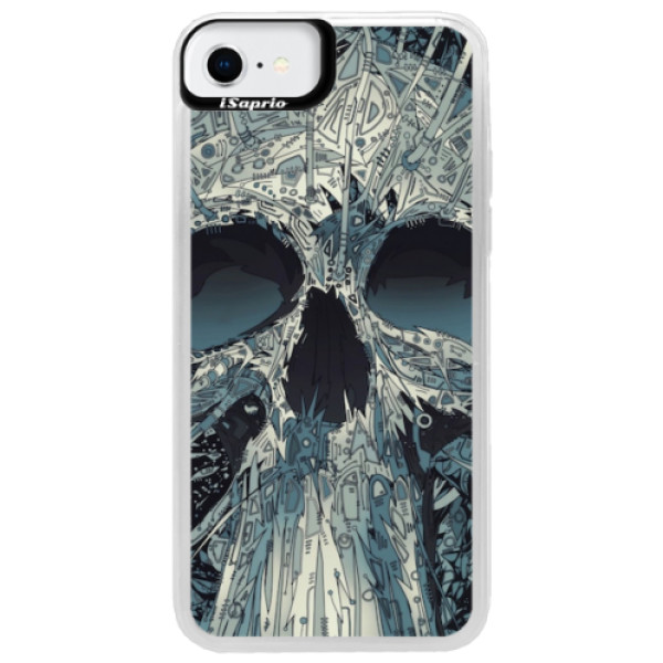 Neonové pouzdro Blue iSaprio - Abstract Skull - iPhone SE 2020