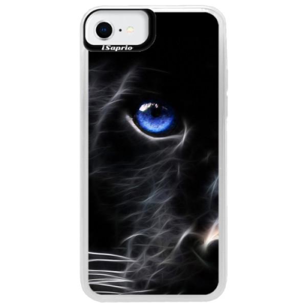 Neonové pouzdro Blue iSaprio - Black Puma - iPhone SE 2020