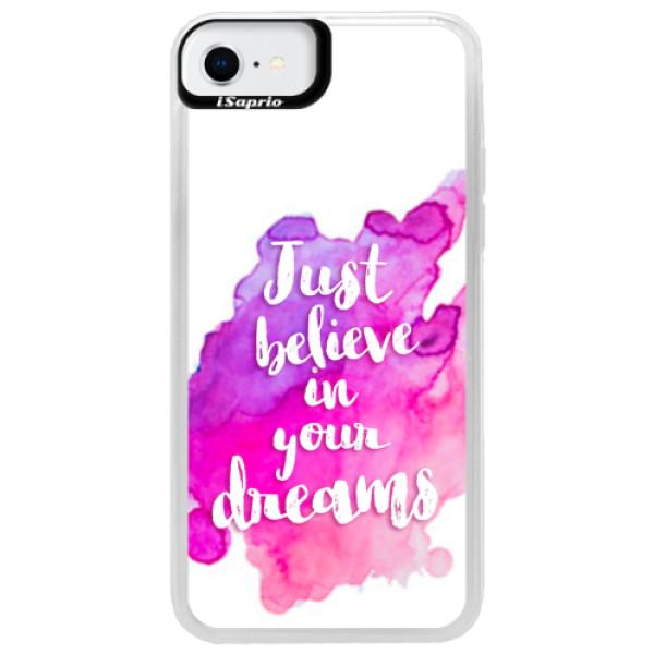 Neonové pouzdro Blue iSaprio - Believe - iPhone SE 2020