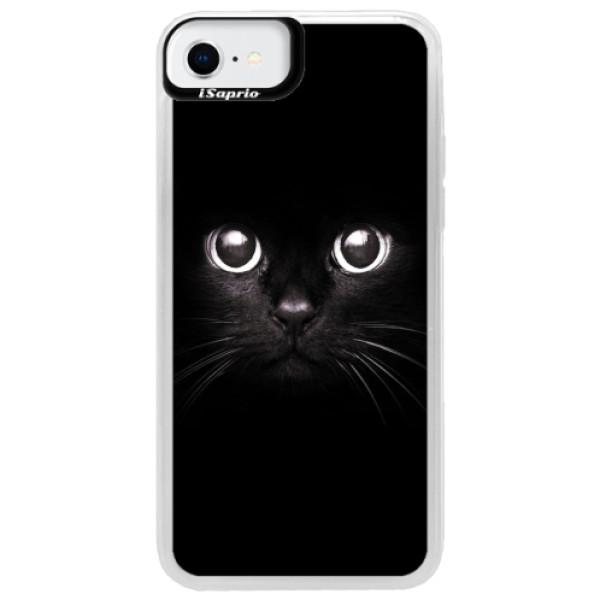 Neonové pouzdro Blue iSaprio - Black Cat - iPhone SE 2020