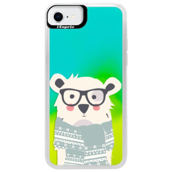 Neonové pouzdro Blue iSaprio - Bear with Scarf - iPhone SE 2020