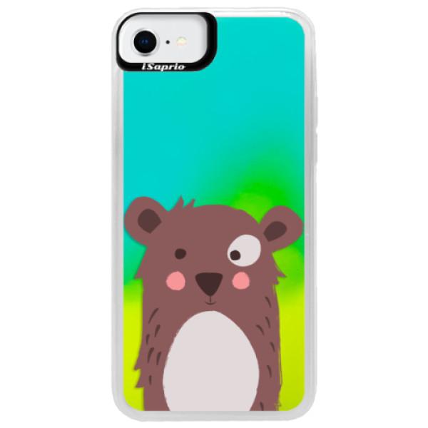 Neonové pouzdro Blue iSaprio - Brown Bear - iPhone SE 2020