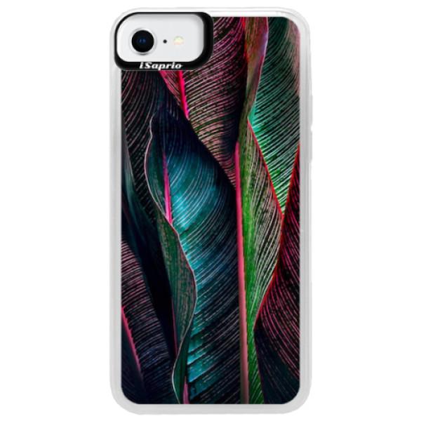 Neonové pouzdro Blue iSaprio - Black Leaves - iPhone SE 2020