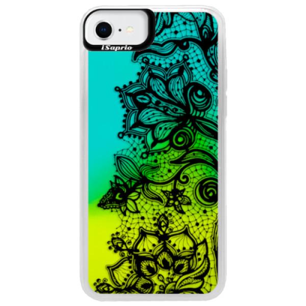 Neonové pouzdro Blue iSaprio - Black Lace - iPhone SE 2020