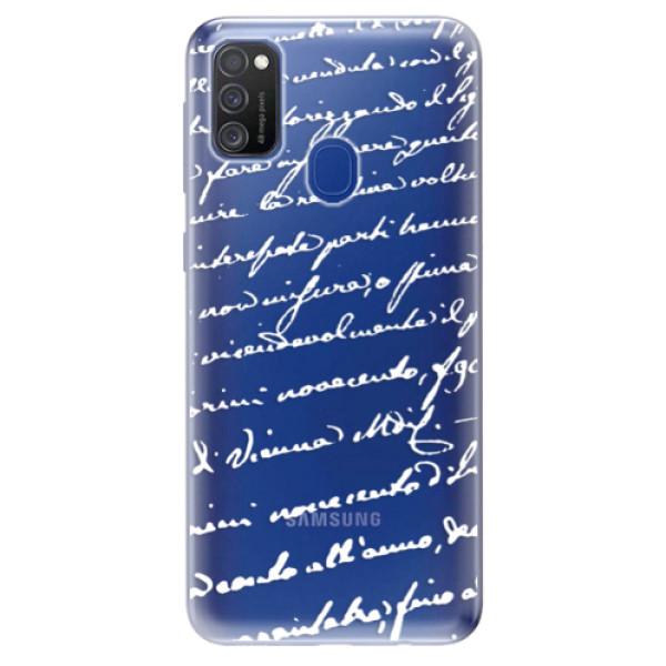 Odolné silikonové pouzdro iSaprio - Handwriting 01 - white - Samsung Galaxy M21