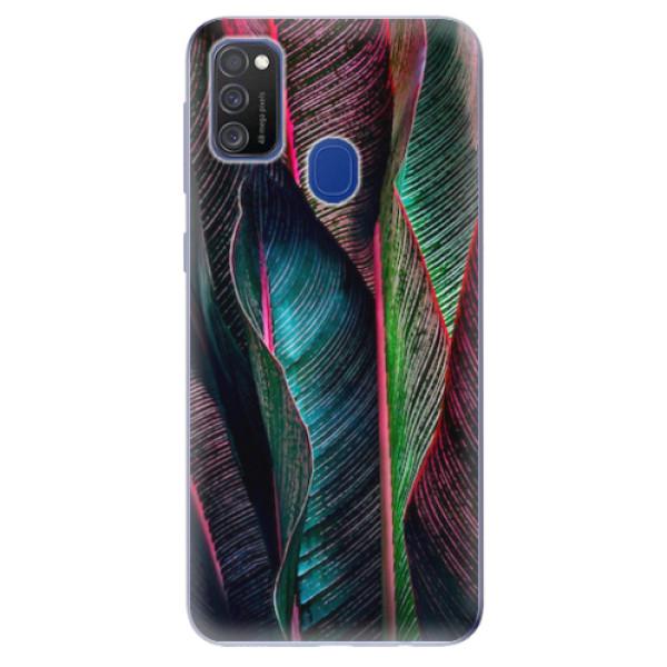 Odolné silikonové pouzdro iSaprio - Black Leaves - Samsung Galaxy M21