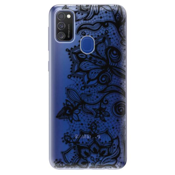 Odolné silikonové pouzdro iSaprio - Black Lace - Samsung Galaxy M21