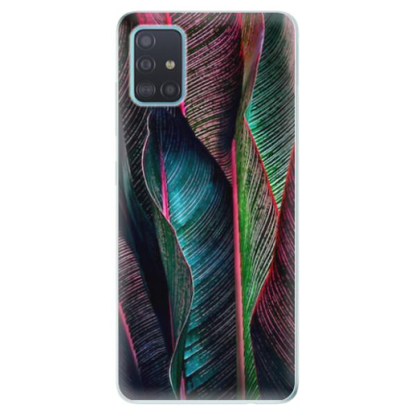 Odolné silikonové pouzdro iSaprio - Black Leaves - Samsung Galaxy A51