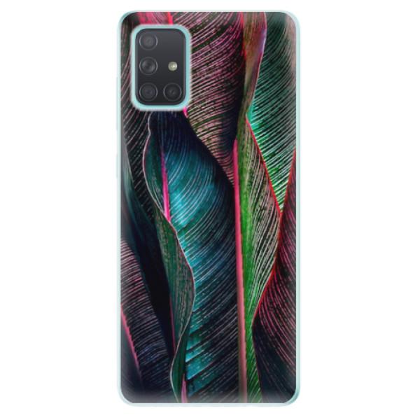 Odolné silikonové pouzdro iSaprio - Black Leaves - Samsung Galaxy A71