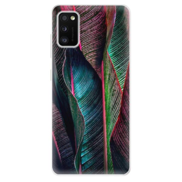 Odolné silikonové pouzdro iSaprio - Black Leaves - Samsung Galaxy A41