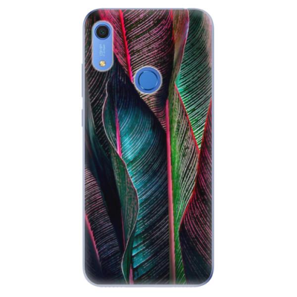 Odolné silikonové pouzdro iSaprio - Black Leaves - Huawei Y6s