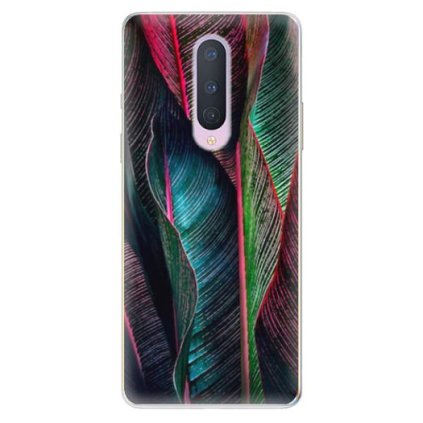 Odolné silikonové pouzdro iSaprio - Black Leaves - OnePlus 8