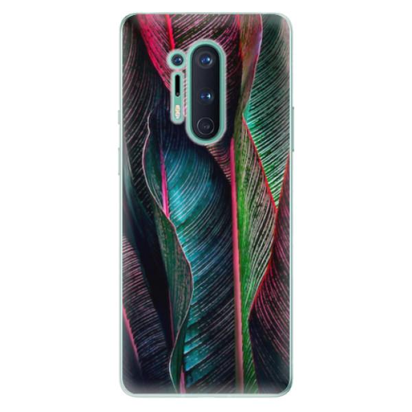 Odolné silikonové pouzdro iSaprio - Black Leaves - OnePlus 8 Pro