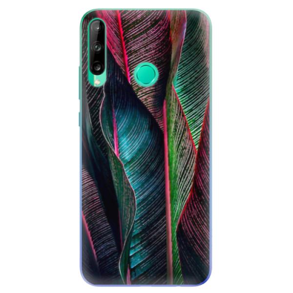 Odolné silikonové pouzdro iSaprio - Black Leaves - Huawei P40 Lite E