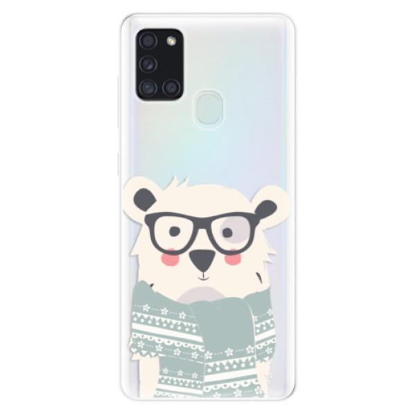 Odolné silikonové pouzdro iSaprio - Bear with Scarf - Samsung Galaxy A21s
