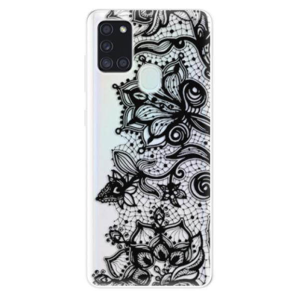 Odolné silikonové pouzdro iSaprio - Black Lace - Samsung Galaxy A21s