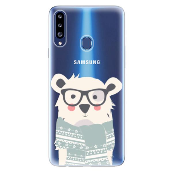 Odolné silikonové pouzdro iSaprio - Bear with Scarf - Samsung Galaxy A20s